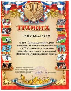 2 место в XIX Спартакиаде учщихся ОУ