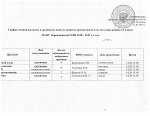 консультации 11 кл второе  полугодие 2018-2019