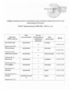 график консультаций 10 кл на 2 полугодие 2018-2019 уч.г